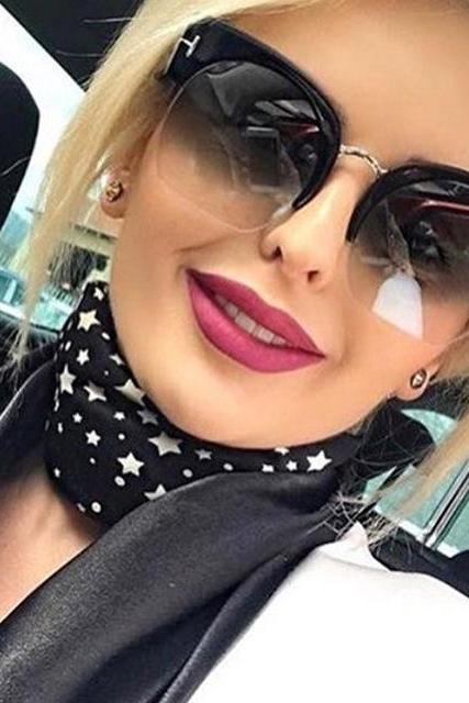 Semi-Rimless Sunglasses Women Brand Designer Clear Lens Sun Glasses For Women Fashion Sunglass